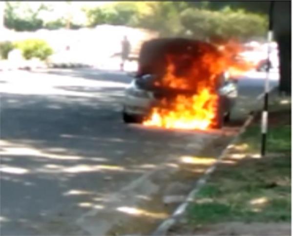fire in bmw car