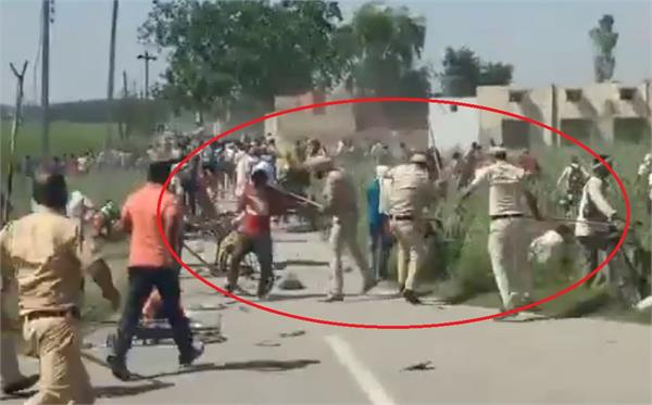 surjewala tweeted a video of police beating up laborers