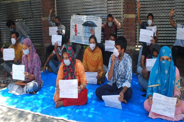 terminated employees protest for rejoining in kathua