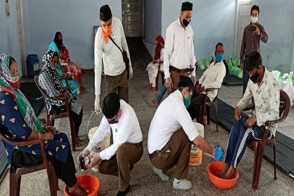 rss washed foot of safai karamchari in samba