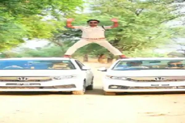police in damoh climbed asi obsession to become singham fined