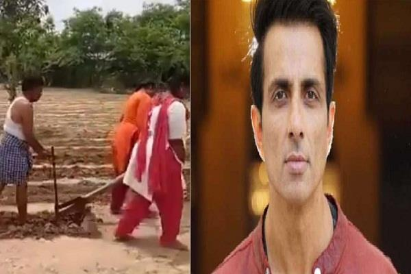 sonu sood brought tractor to farmer daughters plowing field in just few hours