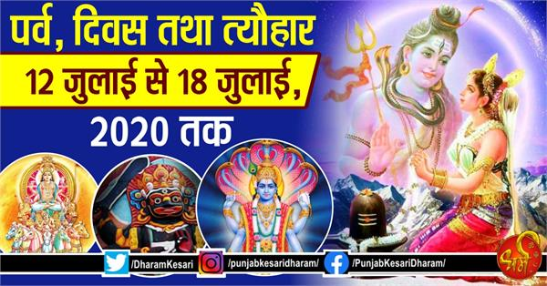 fast and festival from 12th july to 18 july 2020 in hindi