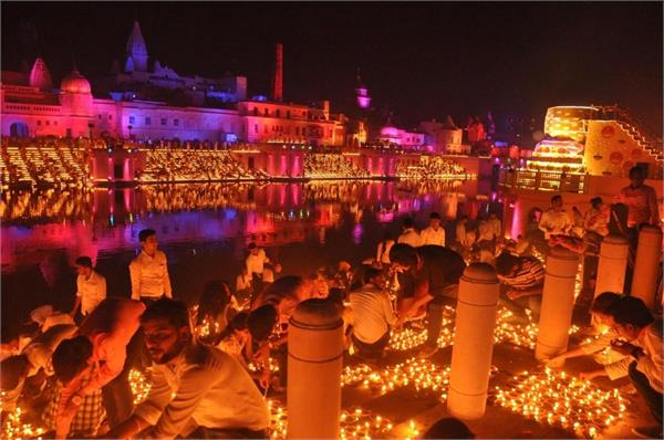 ayodhya bathed with light on the eve of bhoomi poojan