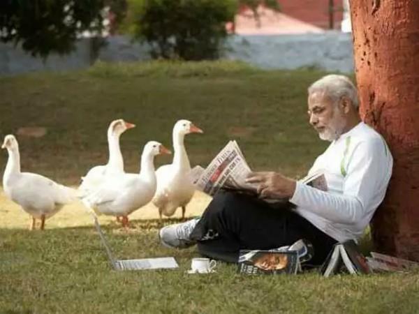 pm modi nature love now photo viral with ducks