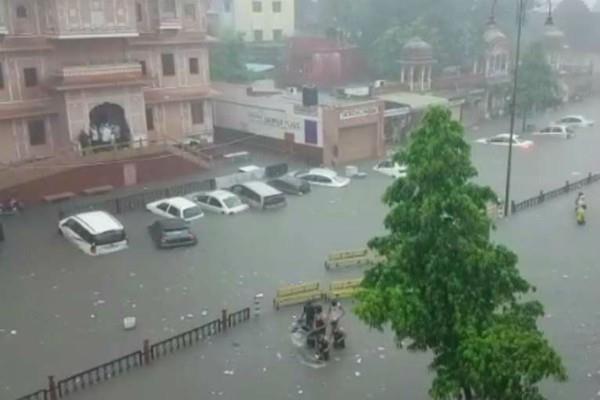 rain in jaipur roads become ponds