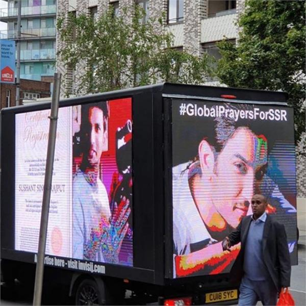 truck in london with sushant s pics viral  iamsushant trends on twitter