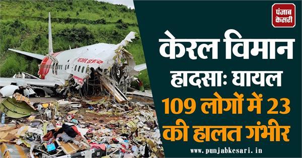 kerala plane crash 23 people injured in 109 injured
