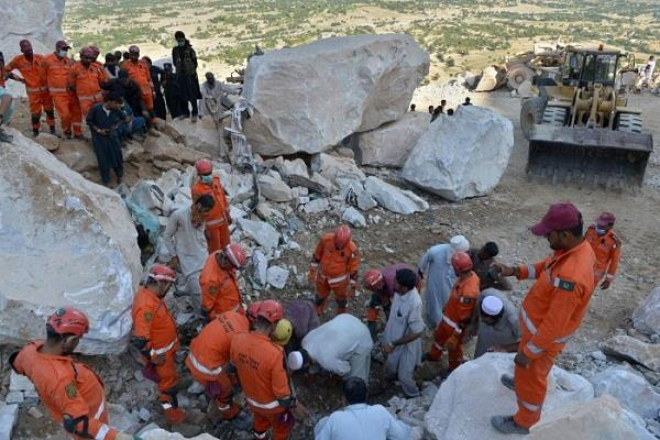 so far 22 people have died in the collapse of marble mine in pakistan
