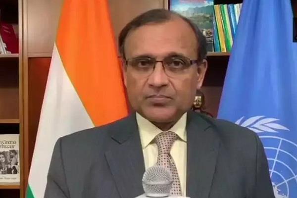 india slams pakistan for raising kashmir issue in sanra mahasabha