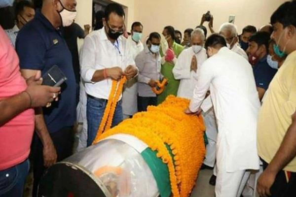 the body of raghuvansh babu reached patna