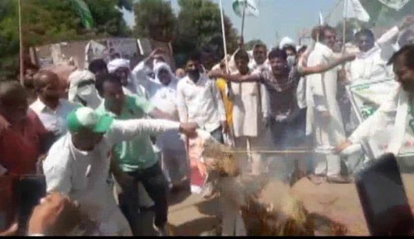 the farmers burnt the effigy of the government
