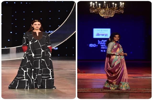 Lakme Fashion Week: रैम्प पर दिया मिर्जा ने बिखेरा जलवा, तापसी पन्नू ने ढाया साड़ी लुक में कहर
