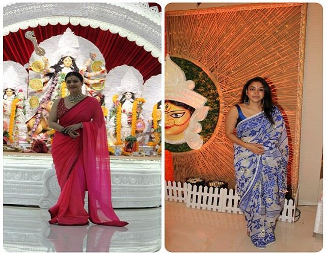 बिना मेकअप दुर्गा मां का आर्शीवाद लेने पहुंची काजोल,  ट्रेडिशनल गेटअप में दिखी सुमोना चक्रवर्ती