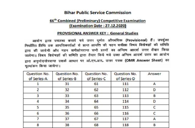 bpsc 66th prelims answer key answer key released on bpsc bih nic in