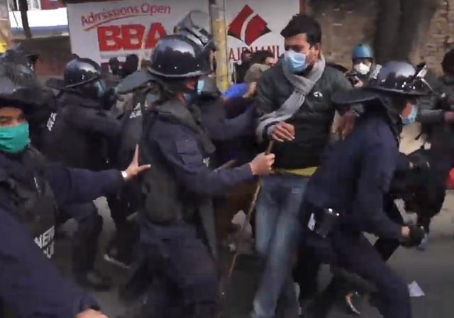 police crackdown on demonstrators opposing parliament dissolution in nepal