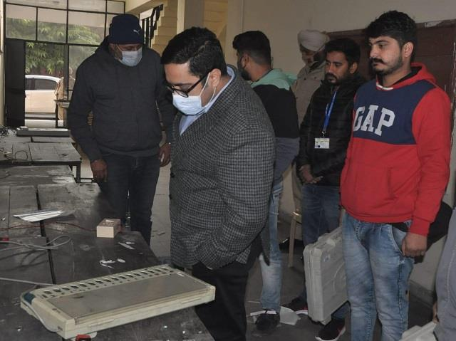 adc sarangal checks evm for corporation elections