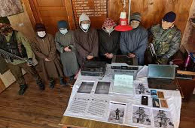 five terrorists  associates arrested for planting threatening posters in pulwama
