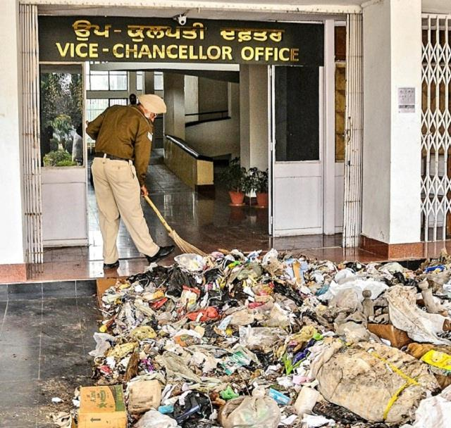 punjabi university s  vice chancellor  blown out of office policeman sweeps