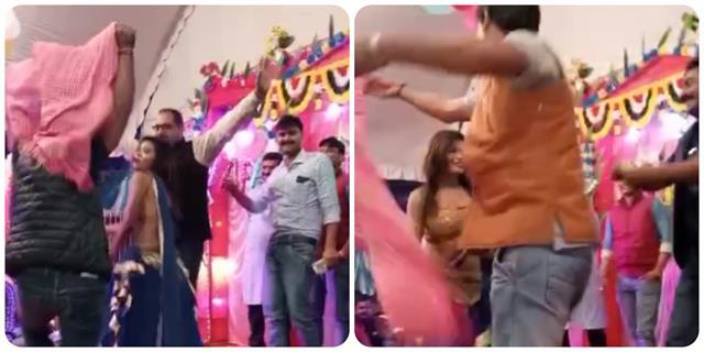 bjp leaders dance with balas over bhojpuri songs video viral