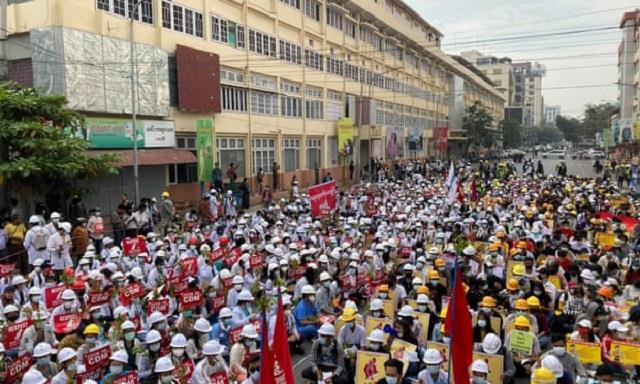 myanmar coup facebook shuts down military s page as thousands protest