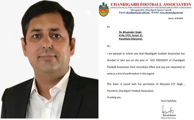 bhupi became head of chandigarh football association