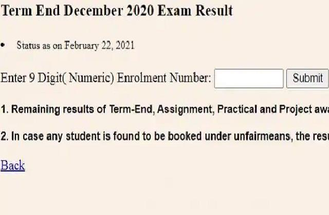 ignou december term end exam results released