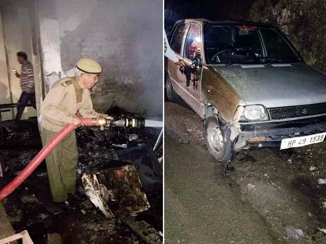 fire in shop loss 3 lakhs