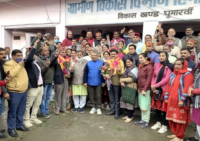 bjp captured the ghumarwin and jhanduta panchayat samiti