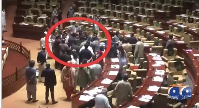 pakistan lawmakers of imran s party thrash  rebel  members in sindh assembly