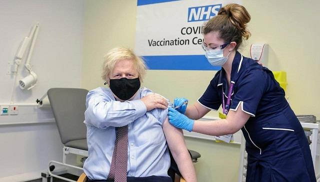 uk pm boris johnson takes the first jab of astrazeneca covid vaccine
