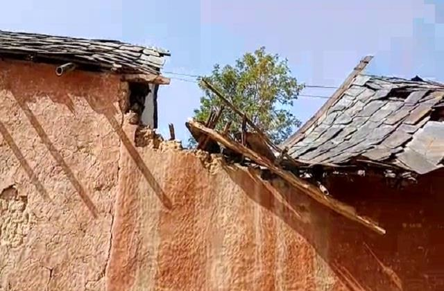 slate roof house collapses in village victim family forced to live in hut
