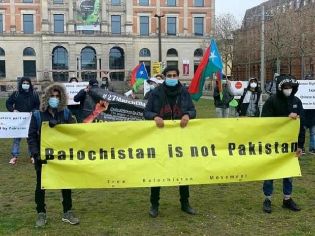 baloch stage protest in germany against pakistan
