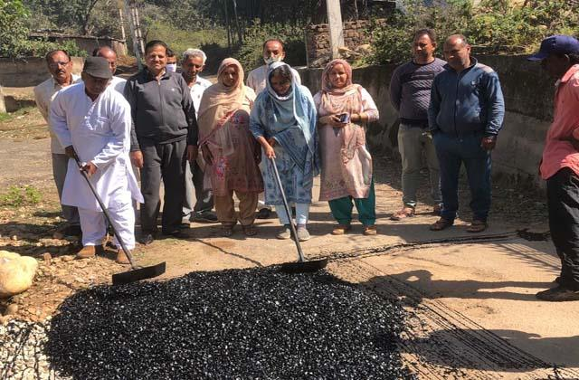 black topping of road at birpur