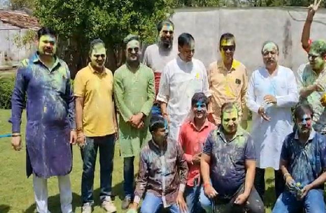 bjp former mla dhruv narayan holi celebration in bhopal
