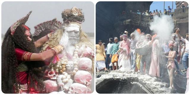 people played unique holi in shivanagari kashi ashes of the pyre