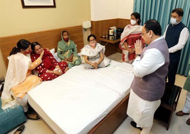 jp nadda arrived to mourn the demise of mp ramswaroop sharma