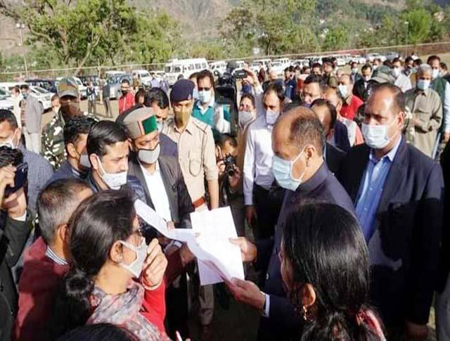 cm jairam s helicopter landed in sundernagar after one and half year