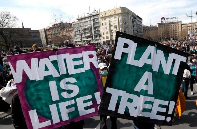 thousands of people gathered in serbia to save environment rally