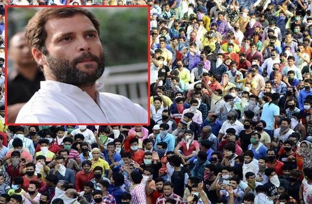 rahul gandhi again raised voice for laborers