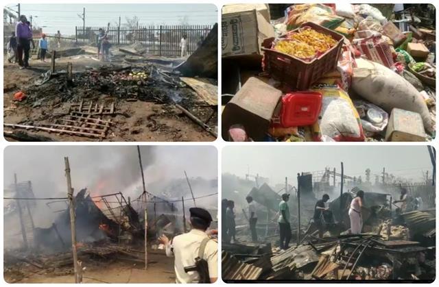 fierce fire in dharamshala vegetable market burning 5 shops