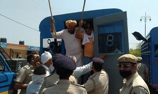 police detained 70 farmers in kurukshetra
