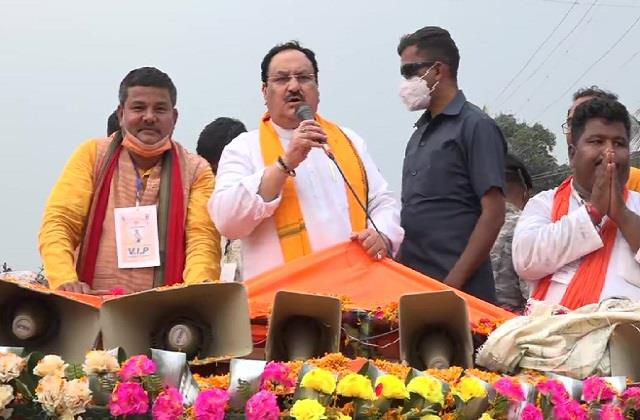 nadda road show in north bengal said wave in favor of bjp