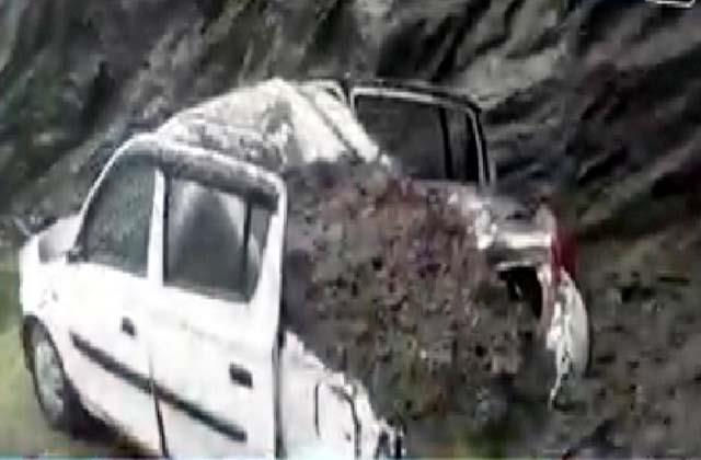 car came in grip of landslide