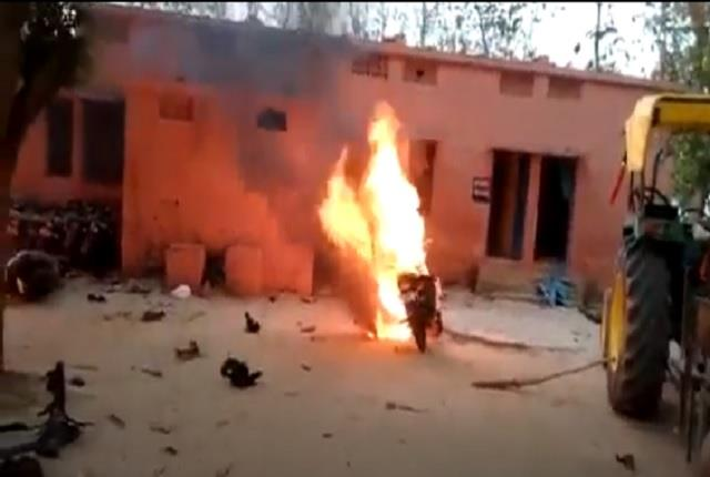 allegations of rigging in candidate supporters set fire to police post