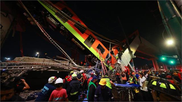 20 killed at least 70 injured after mexico city metro collapses onto road