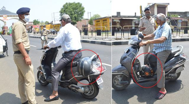 entry of helmet two wheeler drivers in himachal