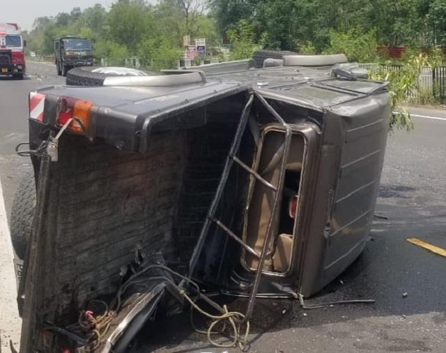 big crash bolero camper overturned on road