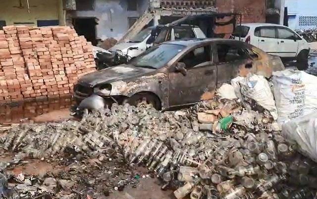 liquor was being destroyed in gutter sudden fire and this happened