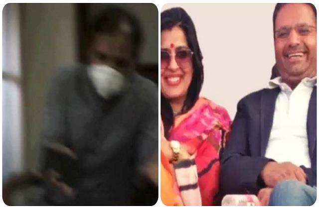 bjp suspended mayor husband caught on camera dealing